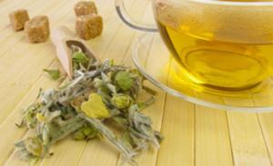 Bulgarischer Bergtee Kraut und Tee in Tasse auf Holz